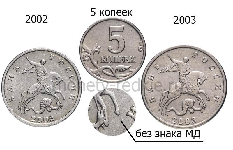 редкие 5 копеек без обозначения монетного двора