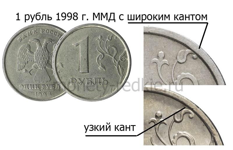 ценный 1 рубль 1998 ММД с широким кантом