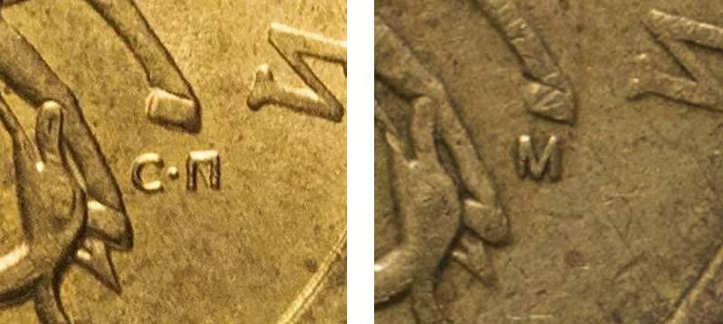 буквы СП и М на 50-копеечных монетах