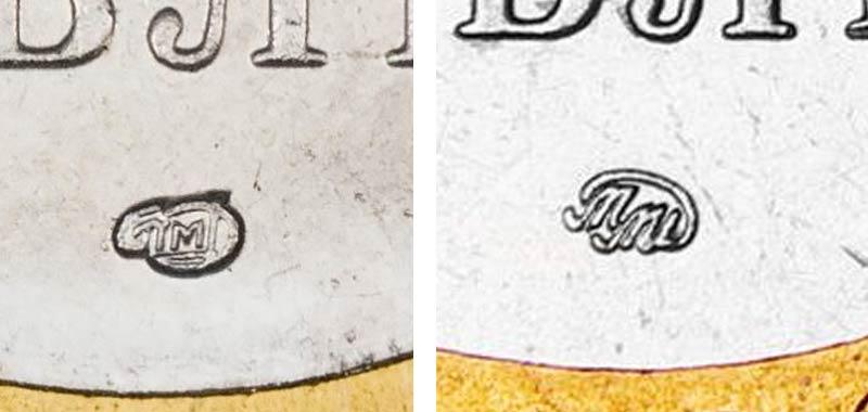 знаки СПМД и ММД на 10 рублевой монете 2000 года